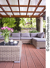 Elegant furnitures on the terrace of the house