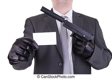 Elegant gangster hitman assassin, isolated on white...
