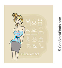 elegant girl - Fashion shopping icon doodle set