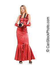 Elegant girl in red dress