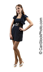elegant girl in stylish dress