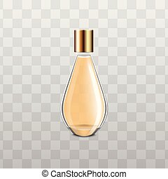 Elegant glass perfume bottle with yellow liquid and gold cap
