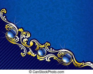 Elegant gold and blue background with gems, horizontal