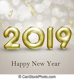 Elegant Gold Foil Balloons 3D Illustration Brilliant Happy New Year 2019