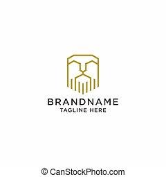Elegant gold Lion Head Logo Design Template. Simple, Minimalist, elegant, modern, luxury