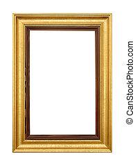 Elegant gold picture frame on white