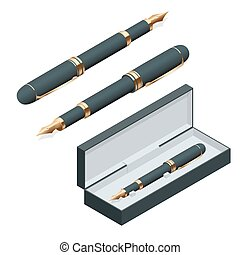 Elegant gold plated business fountain pen isolated on white background. Flat 3d vector isometric illustration