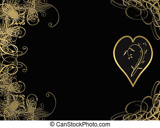 elegant golden arabesque design with love heart