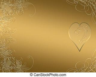 elegant golden arabesque design with love heart