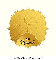 elegant golden eid mubarak greeting with mosque top