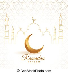 elegant golden moon with mosque ramadan kareem background