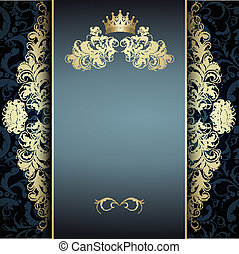 elegant golden pattern on blue - Original card with a...