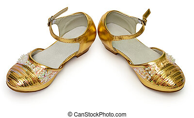 Elegant golden shoes for girl on white