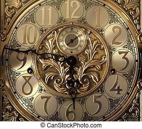 Elegant grandfather clock face