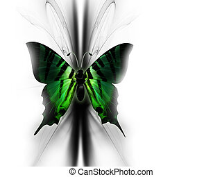 elegant green beautiful butterfly on abstract background