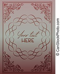 Elegant greeting or invitation card template with ornate dark red frame