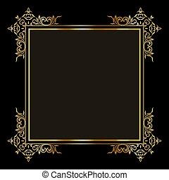 elegant, grens, 1708, goud, decoratief, achtergrond