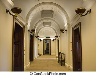 Elegant hallway with ornate arched ceiling