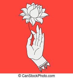 Elegant hand drawn Buddha hand with flower. Isolated icons...