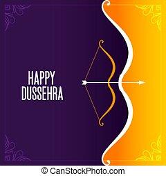 elegant happy dussehra traditional festival card design