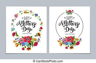 Elegant Happy Mother's Day cards on light blue background. Hand drawn lettering Happy Mother's Day in flower frame