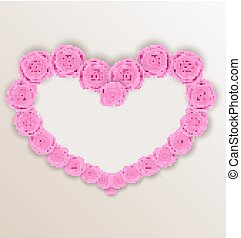 Elegant heart made in roses for Valentine Day, copy space for your text
