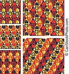 Elegant Hearts. Seamless patterns.