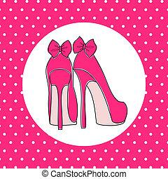 Elegant High Heels - Illustration of pink high heels against...
