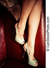 elegant high heels - female legs in elegant high heel shoes...