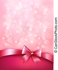 Elegant holiday background with gift pink bow and ribbon. Vector