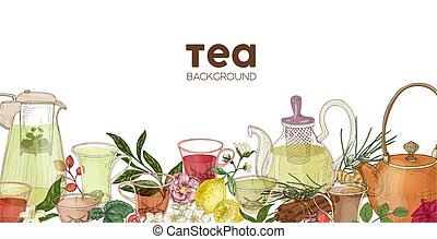Elegant horizontal background or backdrop with glass teapots...