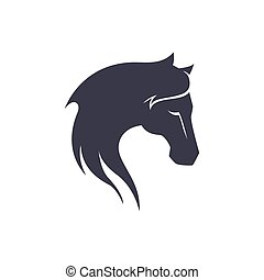 Elegant Horse Head with Long Hair Illustration