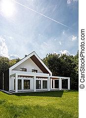 Elegant house with green backyard