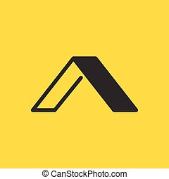 Elegant Initial letter A logo linear and flat design template, vector illustration isolated on yellow background.