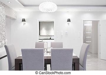 Elegant interior in pastel colors - Elegant dining room...