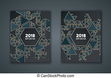 elegant invitation card for the new year pattern mosaic from dark blue triangles on a