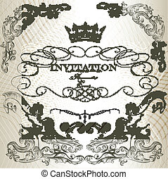 Elegant invitation card  in vintage