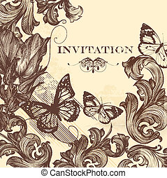 Elegant invitation card in vintage