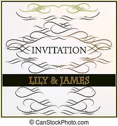 Elegant invitation card or save the date with flourishes.eps