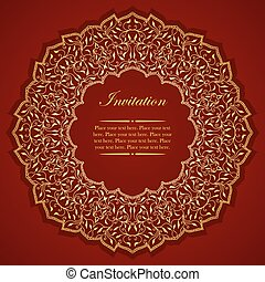 Elegant invitation card with round gold ornament