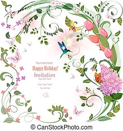 elegant invitation card with spring flowers and bird for your de