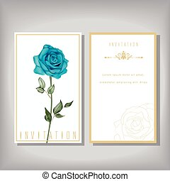 elegant invitation with special blue rose