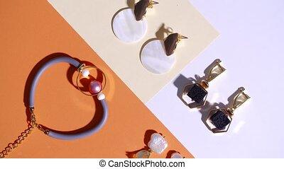 Elegant jewelry flower on color background - Elegant ...