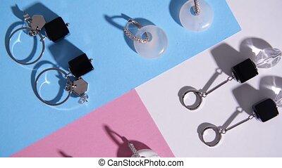Elegant bijouterie jewelry flower on color background