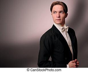 elegant, jonge man, in, kostuum