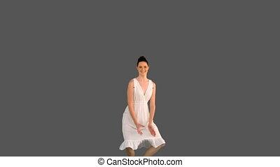elegant, jonge vrouw , in, witte kleding