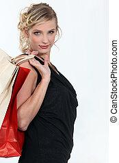 elegant, jonge vrouw , shoppen