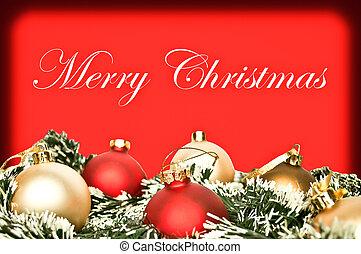 elegant, jul, bakgrund, med, röd, och, gyllene, ornamnets