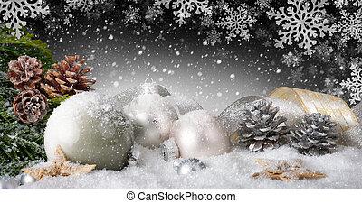 elegant, jul utsmyckning, med, snö