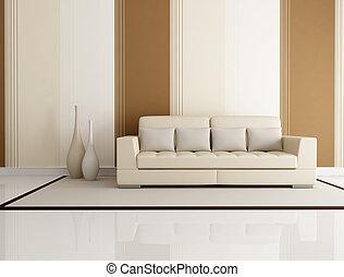 elegant, kamer, levend